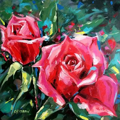 Pink Roses Poster by Christine Karron
