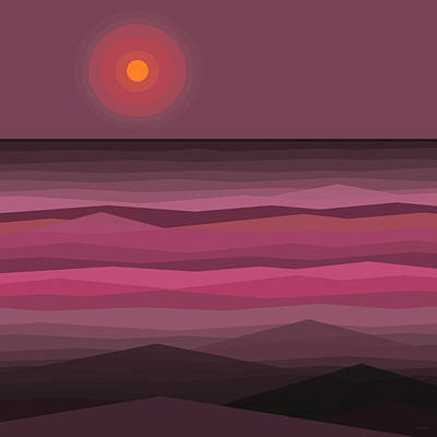 Pink Sunset - Abstract Seascape Poster by Val Arie