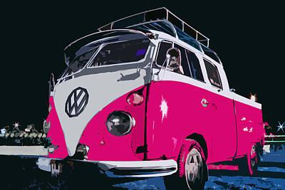 Pinky Vw Camper Poster by Benjamin Dupont