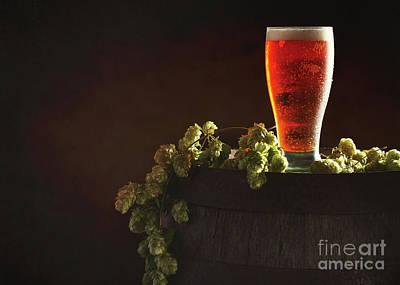 Pint Of Beer On Keg Poster by Amanda Elwell