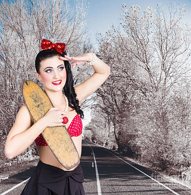 Pinup Skateboarder Woman In Punk Glam Fashion Poster by Jorgo Photography - Wall Art Gallery