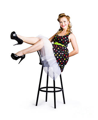 Pinup Woman On Bar Stool Poster by Jorgo Photography - Wall Art Gallery