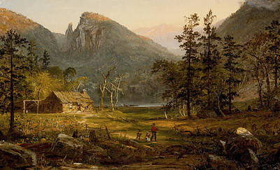 Pioneer's Home Eagle Cliff  White Mountains Poster by Jasper Francis Cropsey