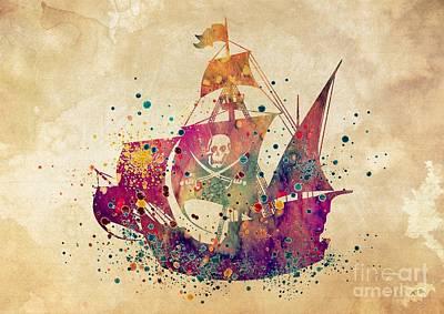 Pirate Ship Print 3 Poster by Svetla Tancheva