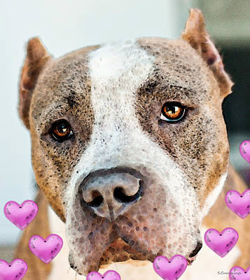 Pit Bull Dog - Pure Love Poster by Sharon Cummings