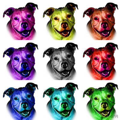 Pitbull Terrier - F - S - Wb - Mosaic Poster by James Ahn