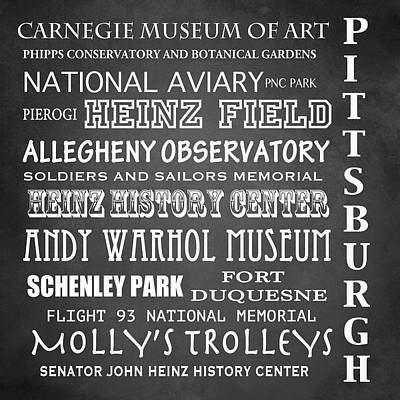 Pittsburgh Famous Landmarks Poster by Patricia Lintner