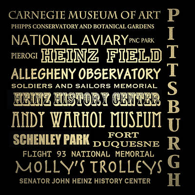 Pittsburgh Pennsylvania Famous Landmarks Poster by Patricia Lintner