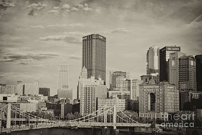 Pittsburgh Skyline Bw Poster by Pittsburgh Photo Company