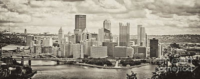 Pittsburgh Skyline Pano Bw Poster by Pittsburgh Photo Company
