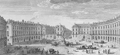 Black And White Paris Poster featuring the drawing Place Des Victoires by Jacques Rigaud