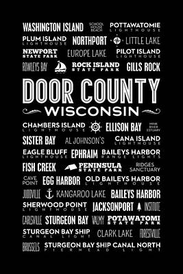 Places Of Door County On Black Poster by Christopher Arndt