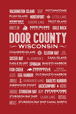 Places Of Door County On Red Poster by Christopher Arndt