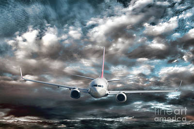 Plane In Storm Poster by Olivier Le Queinec