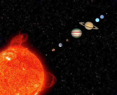 Planets Of The Solar System Poster by Steve Allen