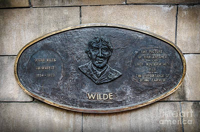 Plaque Remembering Oscar Wilde In Dublin Poster by RicardMN Photography