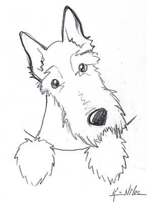 Pocket Scottie Sketch Poster by Kim Niles