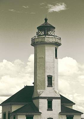 Point Wilson Lighthouse Sepia Poster by Dan Sproul
