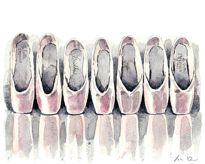 Pointe Shoe Collection Poster by Laura Row