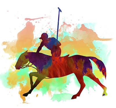 Polo Player Poster by Elena Kosvincheva