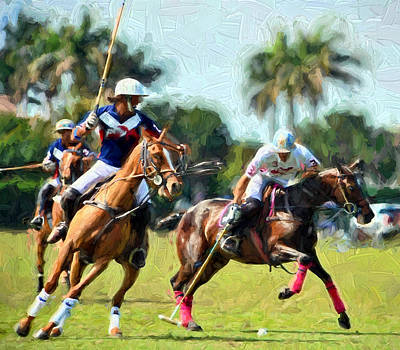 Polo Players And Ponies Poster by Elaine Plesser