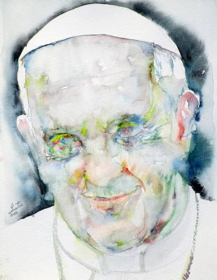 Pope Francis - Watercolor Portrait.7 Poster by Fabrizio Cassetta