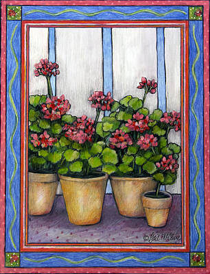 Porch Geraniums Poster by Gail McClure