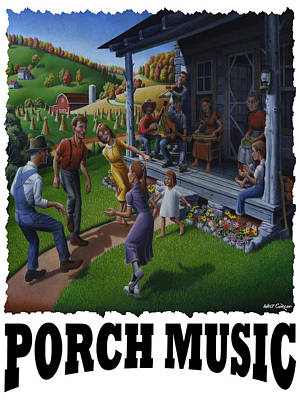 Porch Music - Mountain Music  Poster by Walt Curlee