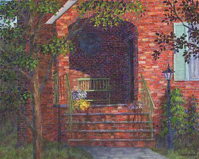 Porch With Green Bench Poster by Susan Savad