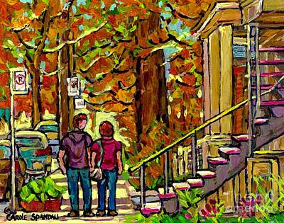 Porches Balconies Staircases Beautiful Verdun Autumn Painting Streetscene Art Couple Stroll Montreal Poster by Carole Spandau