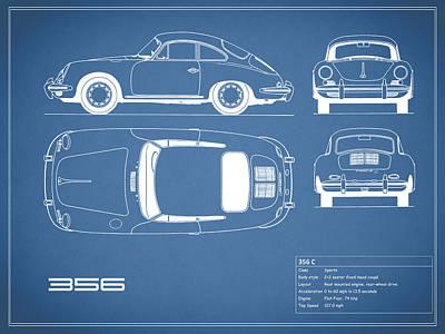 Porsche 356 C Blueprint Poster by Mark Rogan
