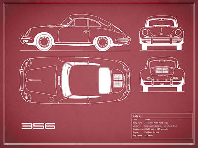 Porsche 356 C Blueprint - Red Poster by Mark Rogan