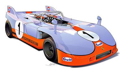 porsche 908 GULF illustration Poster by Alain Jamar