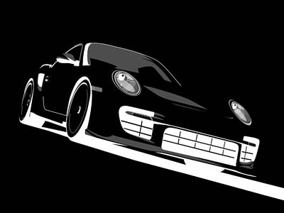 Porsche 911 Gt2 Night Poster by Michael Tompsett