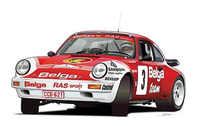 Porsche 911 Sc Rs Belga Team Poster by Alain Jamar
