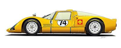 Porsche Carrera 906 Illustration Poster by Alain Jamar