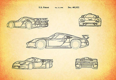Porsche Racing Car Patent 1998 Poster by Mark Rogan