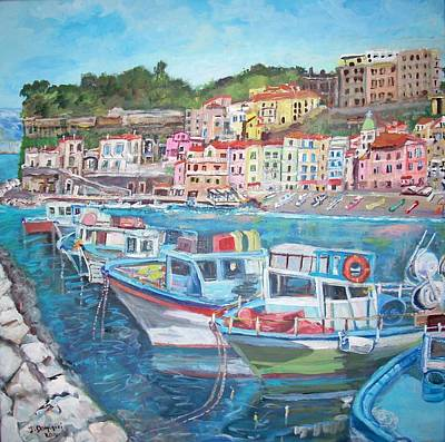 Port Of The Marina Grande  Poster by Teresa Dominici