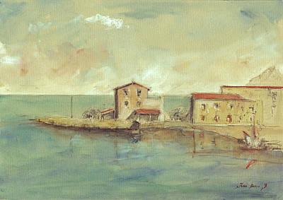 Porticello Santa Flavia  Seascape At Sicily Palermo Poster by Juan  Bosco