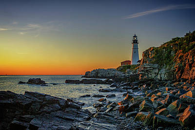 Portland Head Light At Dawn Poster by Rick Berk