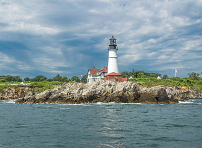 Portland Head Light From Casco Bay Poster by Laurie Breton