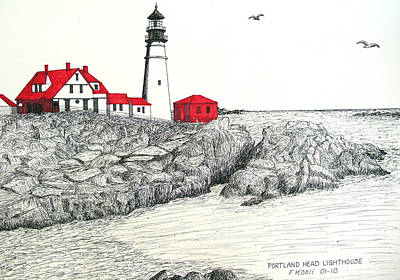 Portland Head Lighthouse Drawing Poster by Frederic Kohli