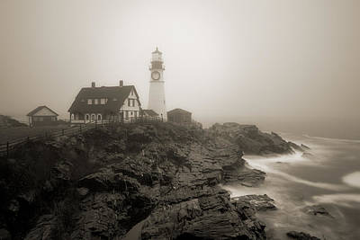 Portland Head Lighthouse In Fog Sepia Poster by David Smith