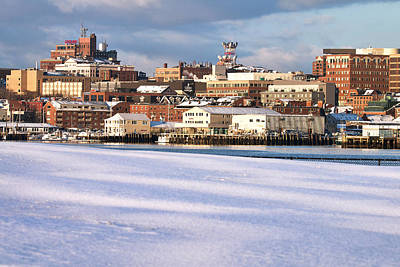 Portland Maine Winter Skyline Poster by Eric Gendron