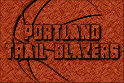 Portland Trail Blazers Leather Art Poster by Joe Hamilton