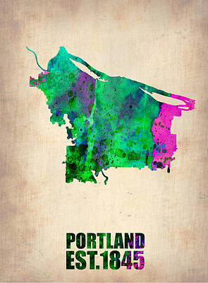 Portland Watercolor Map Poster by Naxart Studio