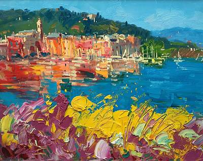 Portofino Harbor With Flowers Poster by Agostino Veroni