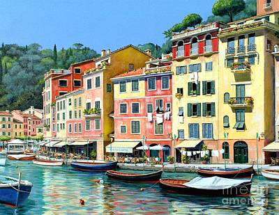 Portofino Sunshine 30 X 40 Poster by Michael Swanson