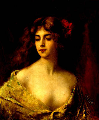 Portrait Of A Young Woman Poster by Angelo Asti