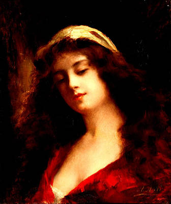 Portrait Of A Young Woman In Red Poster by Angelo Asti